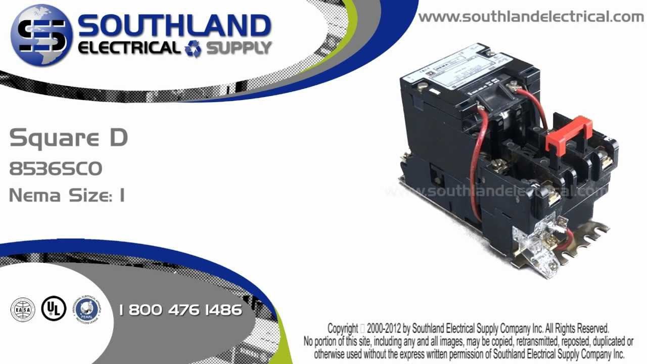 small resolution of square d 8536sco3v02 series a nema size 1 magnetic motor starter youtube