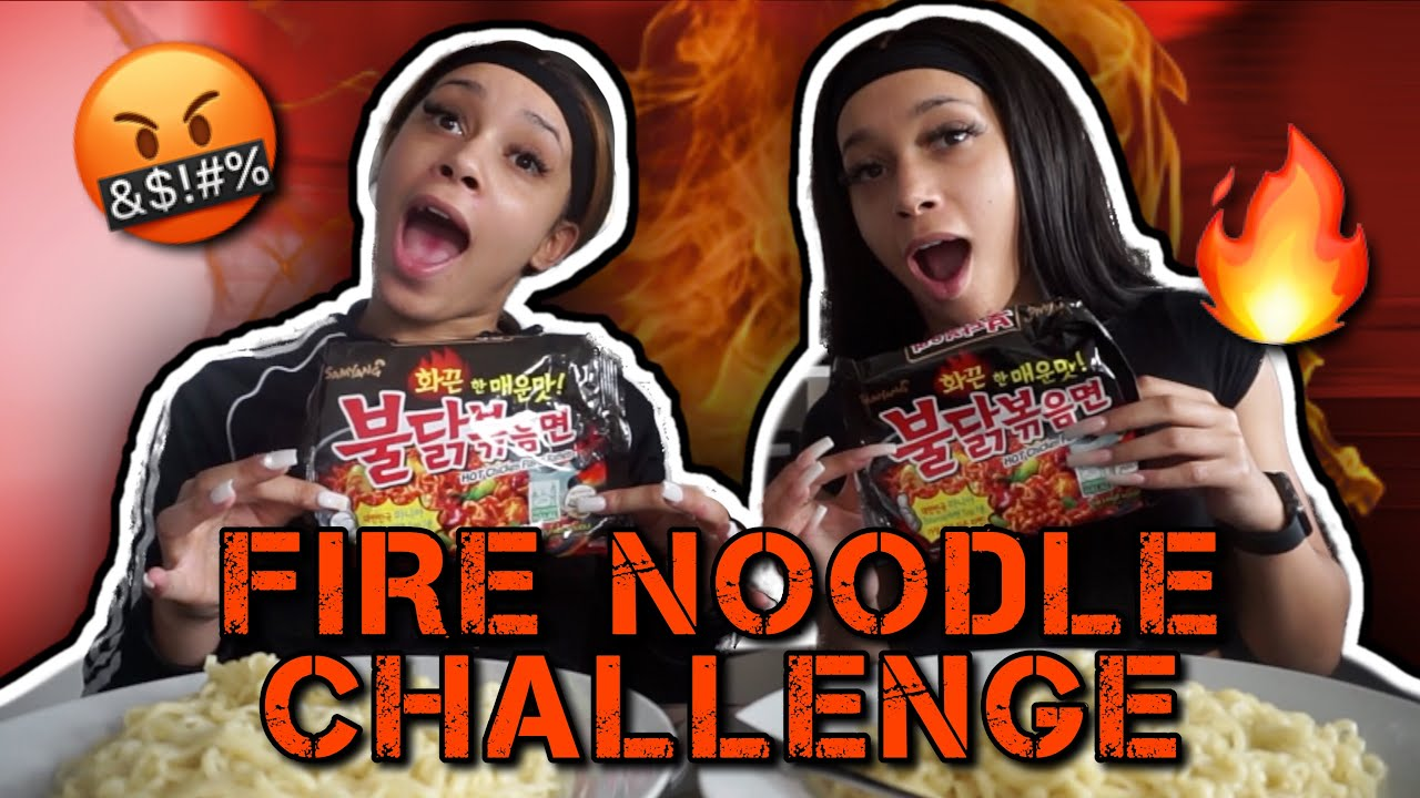 TWINS TRY FIRE NOODLE CHALLENGE