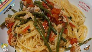 342 - Linguine palamita e fagiolini...fai le corse ai tavolini (primo piatto a base di pesce facile)
