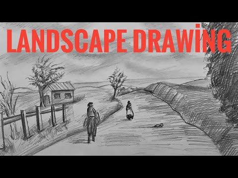 How to Draw a Landscape Drawing   Karakalem Manzara Resmi Çizimi