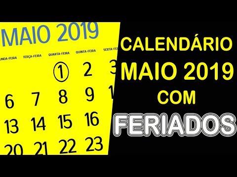 CALEND�RIO MAIO 2019 COM FERIADOS E FASES DA LUA
