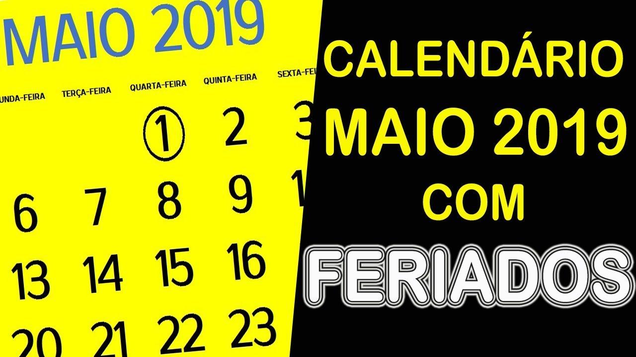 7fbb74251 CALENDÁRIO MAIO 2019 COM FERIADOS E FASES DA LUA - YouTube