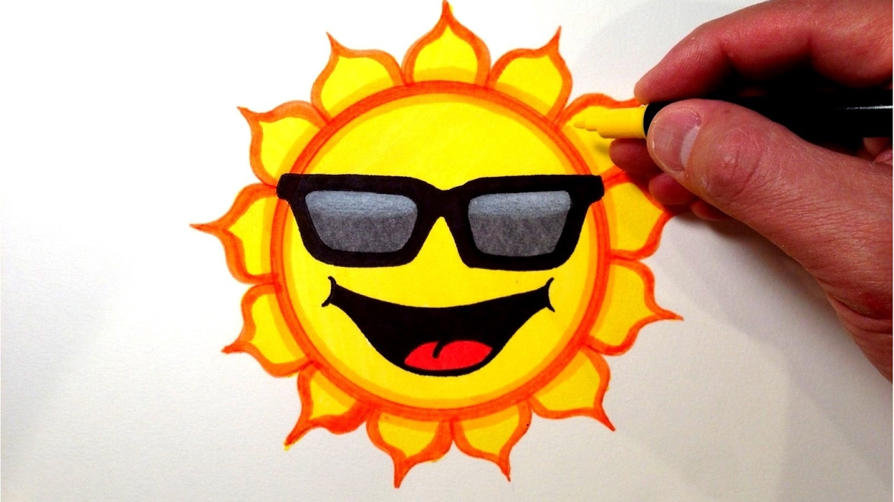 b247ca024e3d How to Draw a Cool Sun Smiley Face with Sunglasses - YouTube