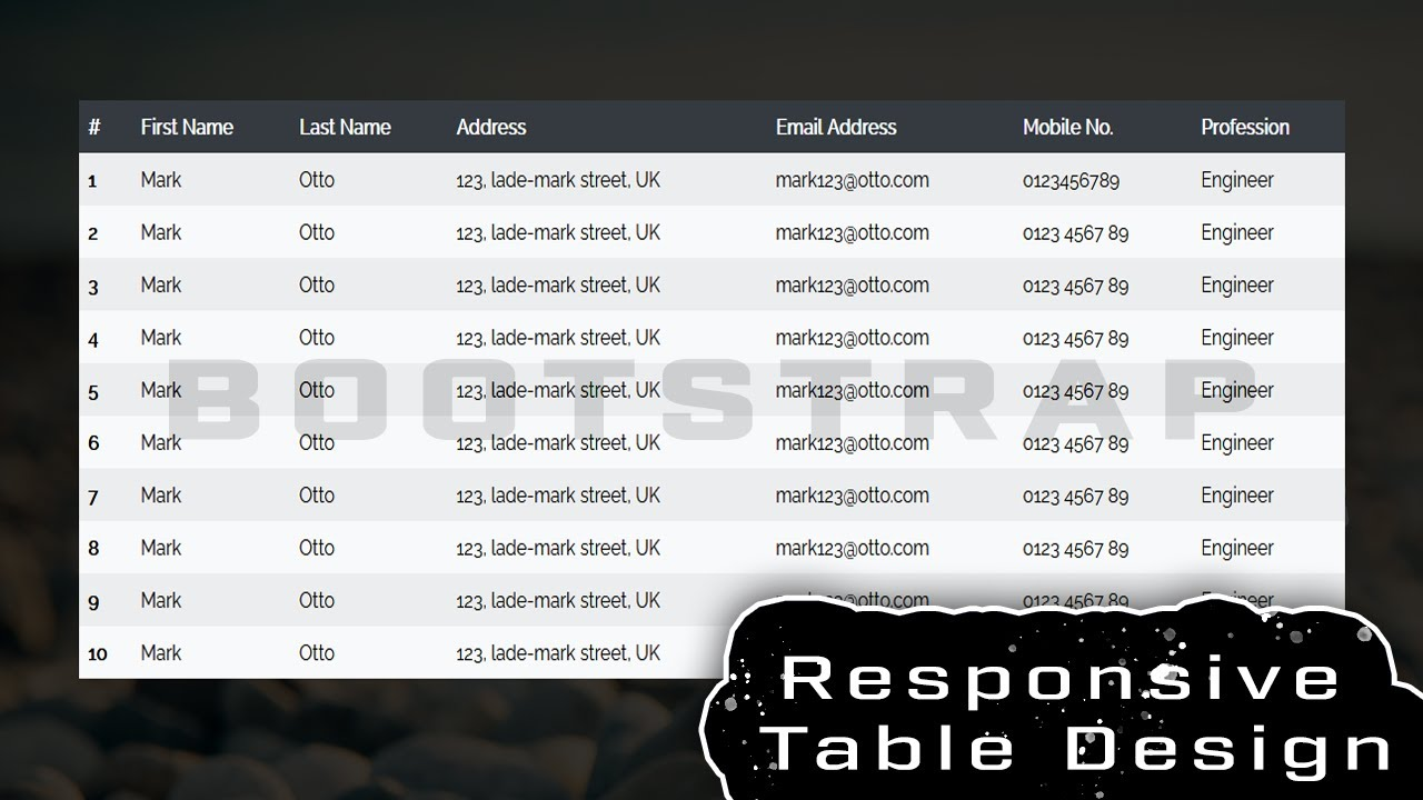 How to Create a Table using HTML, CSS & Bootstrap