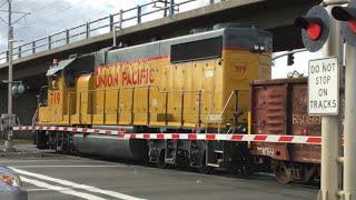 Union Pacific 719 Folsom Turn Local, Sunrise Boulevard Railroad Crossing, SACRT Light Rail Overpass