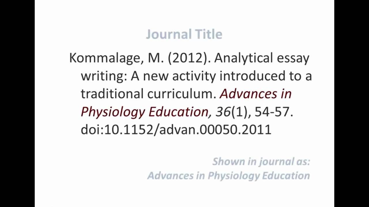 APA style - Referencing an ONLINE JOURNAL ARTICLE - YouTube