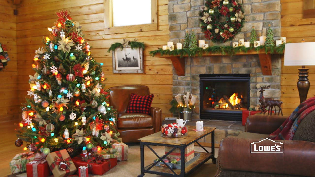 Holiday lodge rustic woodland decorations youtube for Christmas interior house decorations
