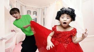 빨간드레스 너무 이뻐요!! 서은이의 색깔가발 놀이 폭탄머리 엄마랑 미용실 놀이 Pretend Play Hairdresser for Kids