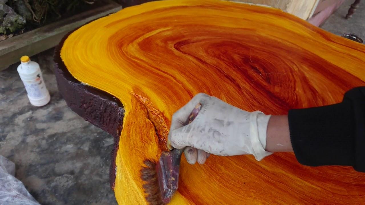 Hướng dẫn sơn giả gổ . giả gỗ bàn ghế đá Guide paint imitation. imitation wood table stone