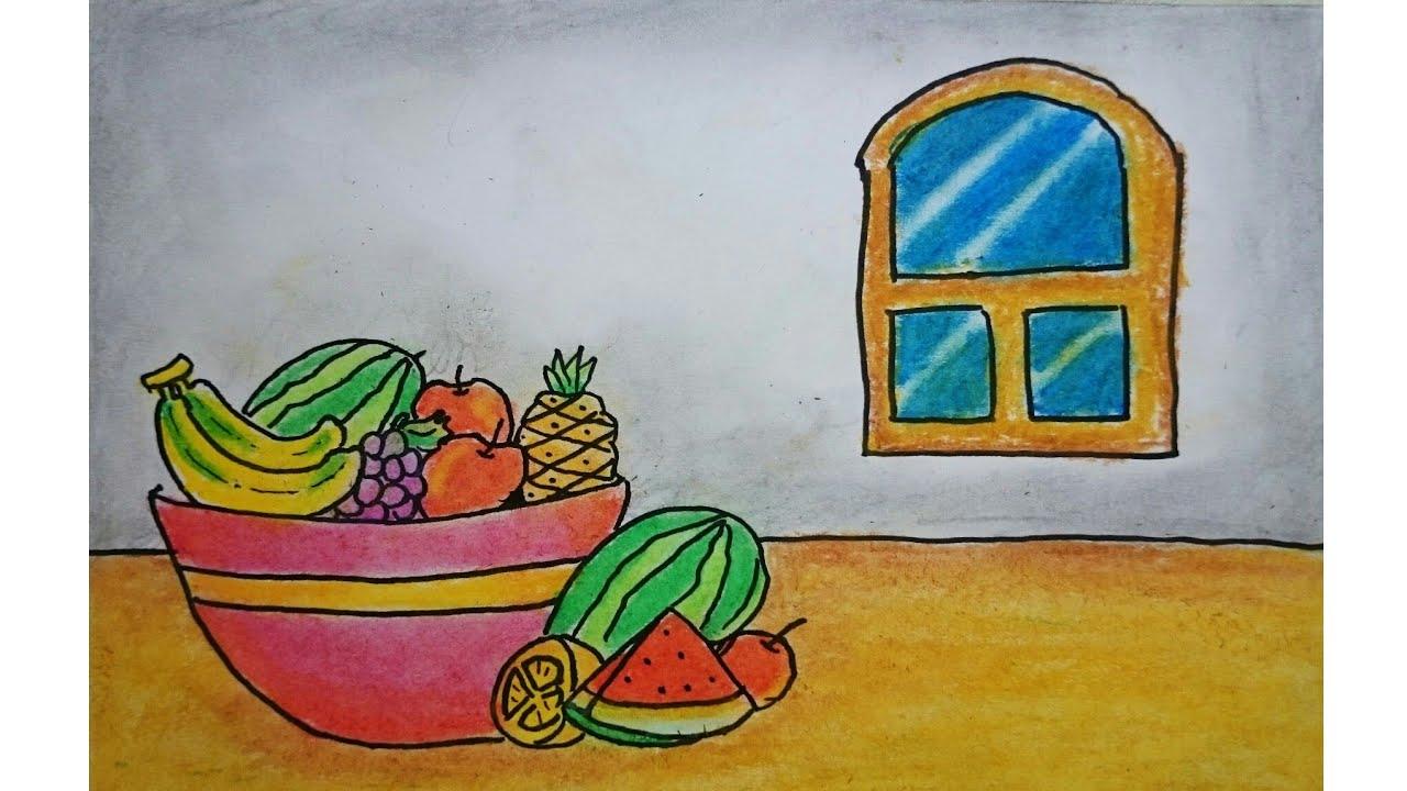 Cara Menggambar Dan Mewarnai Buah Buahan Dalam Keranjang How To Draw A Fruits Basket