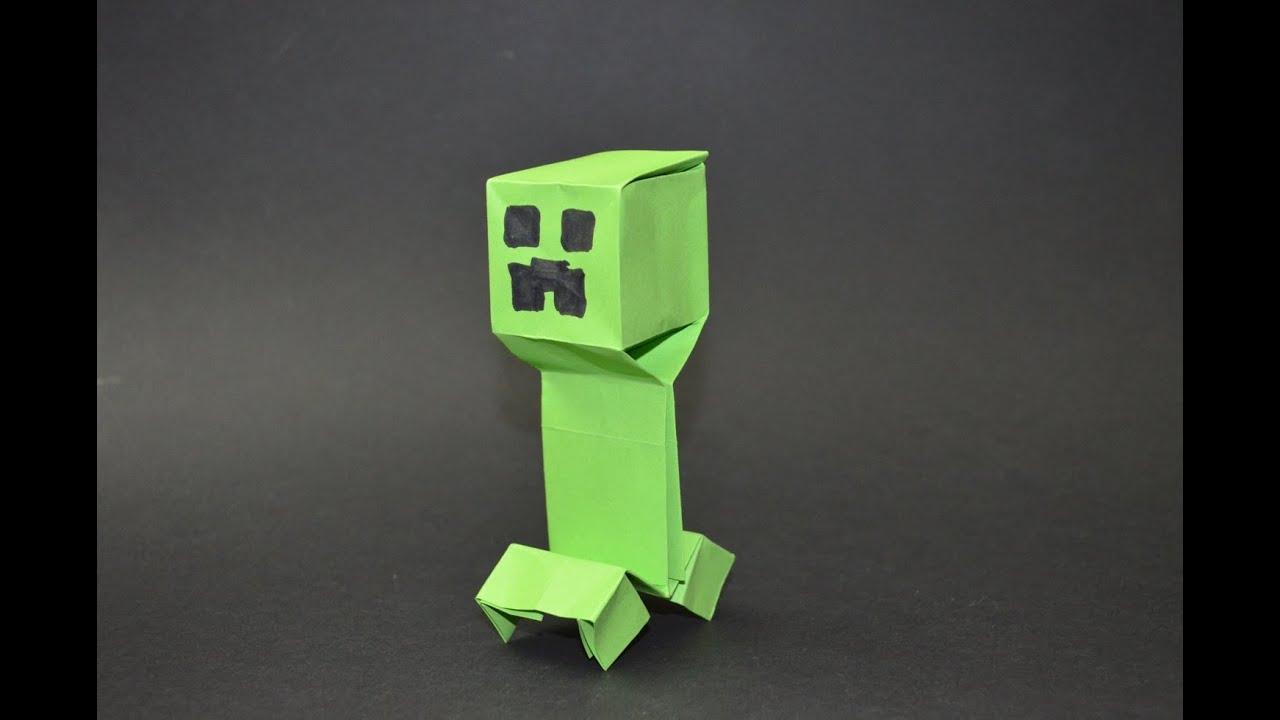 como hacer un creeper de minecraft origami youtube