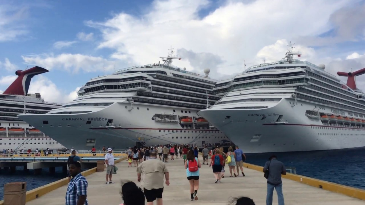 Cruise Ships Docked Next To Each Other In Cozumel YouTube - Docked cruise ship
