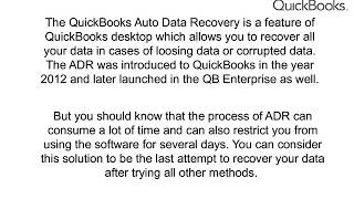 What is QuickBooks Auto Data Recovery 1-888-410-9071