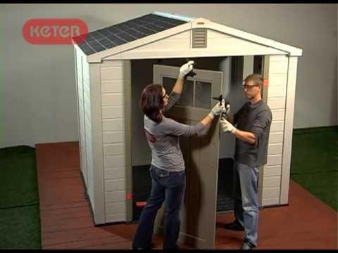 Como construir un cobertizo de resina de keter youtube for Como hacer una caseta de jardin barata