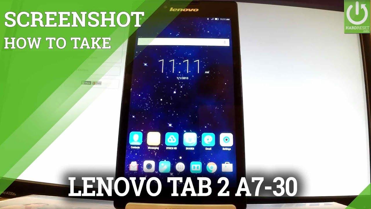How To Capture Screen In Lenovo Tab 2 A7 30 Screenshot Tutorial Youtube
