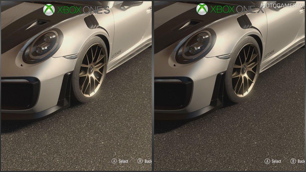 forza motorsport 7 xbox one s vs xbox one x 1080p graphics
