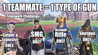 1 PERSON = 1 GUN CHALLENGE! // *ULTIMATE* Teamwork Challenge! // Rules of Survival Mobile