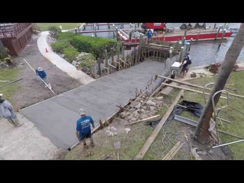 Pouring a concrete boat ramp