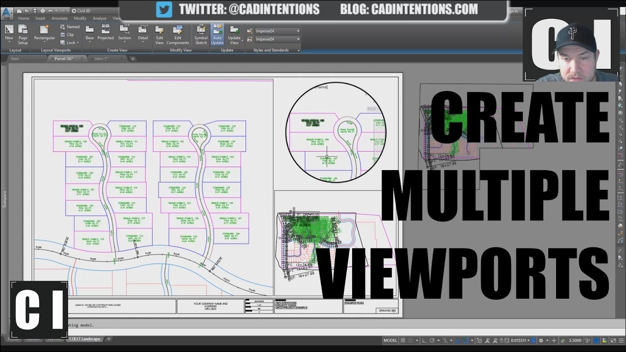 AutoCAD How to Create Viewports (Multiple Views & Circle Views) - New  Layout Tutorial