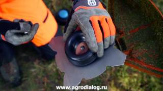 бензокоса Husqvarna  замена триммерной головки на металлический нож