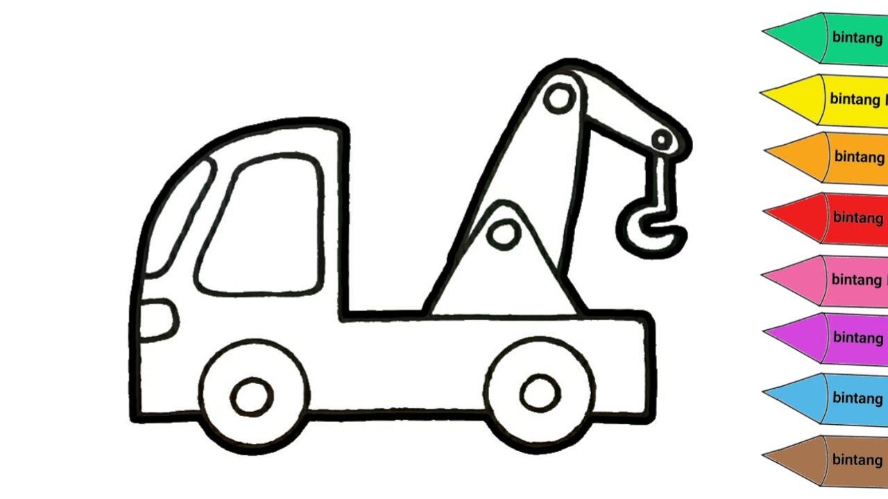 Gambar Mewarnai Mobil Derek Contoh Anak Paud