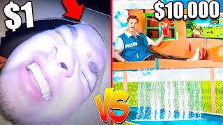 $1 vs. $10,000 Box Fort Prison 24 Hour Challenge *Budget Challenge*