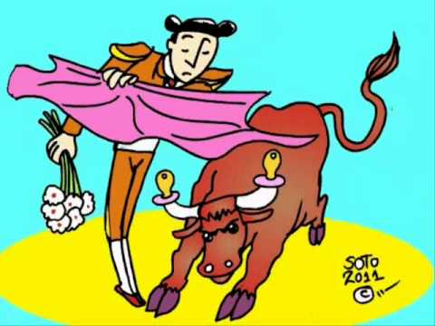 Cartoon bulls and bullfighters. These are not banned bullfights in Barcelona