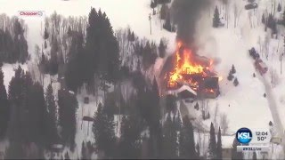 Large cabin on fire in Big Cottonwood Canyon