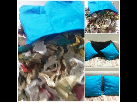 How to make a cushion #pilow filler using waste clothes fast and easy # DIYs of best out of waste