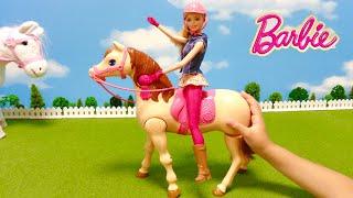 バービー人形のお馬さんのおもちゃで遊びました。 このおもちゃ、バービ...