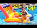 POOL GAMES! Swimming Pool Arcade Game Challenge Water Guns Play Kids Toys Battle by DisneyCarToys