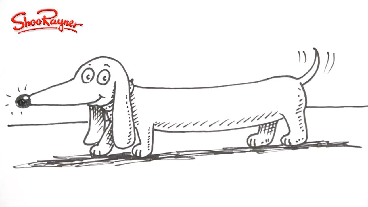 How To Draw A Cartoon Dachshund Sausage Dog Youtube