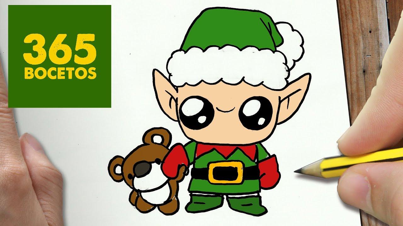 Dibujos De Navidad Del Olentzero.Como Dibujar Un Elfo Para Navidad Paso A Paso Dibujos Kawaii Navidenos How To Draw A Elfa