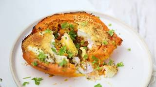 Take A Bite - Double baked sweet potatoes with cheese and eggs
