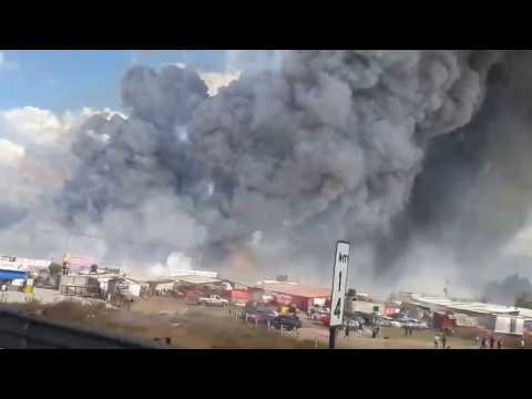 Fireworks market burning in Mexico City (Stabilized, HD)