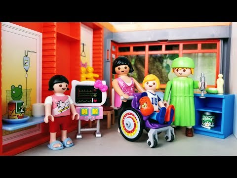 Wheelchair Fun and Casts - Playmobil Children's Hospital Ep 4 - Stories with Dolls