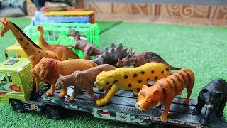 Mainan Mobil Truk - Belajar Nama dan Suara Binatang serta Dinosaurus dalam Bahasa Inggris