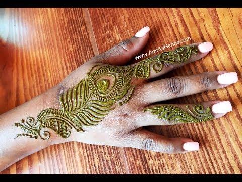 Easy Simple Peacock Feather Mehndi Henna Design Latest Youtube