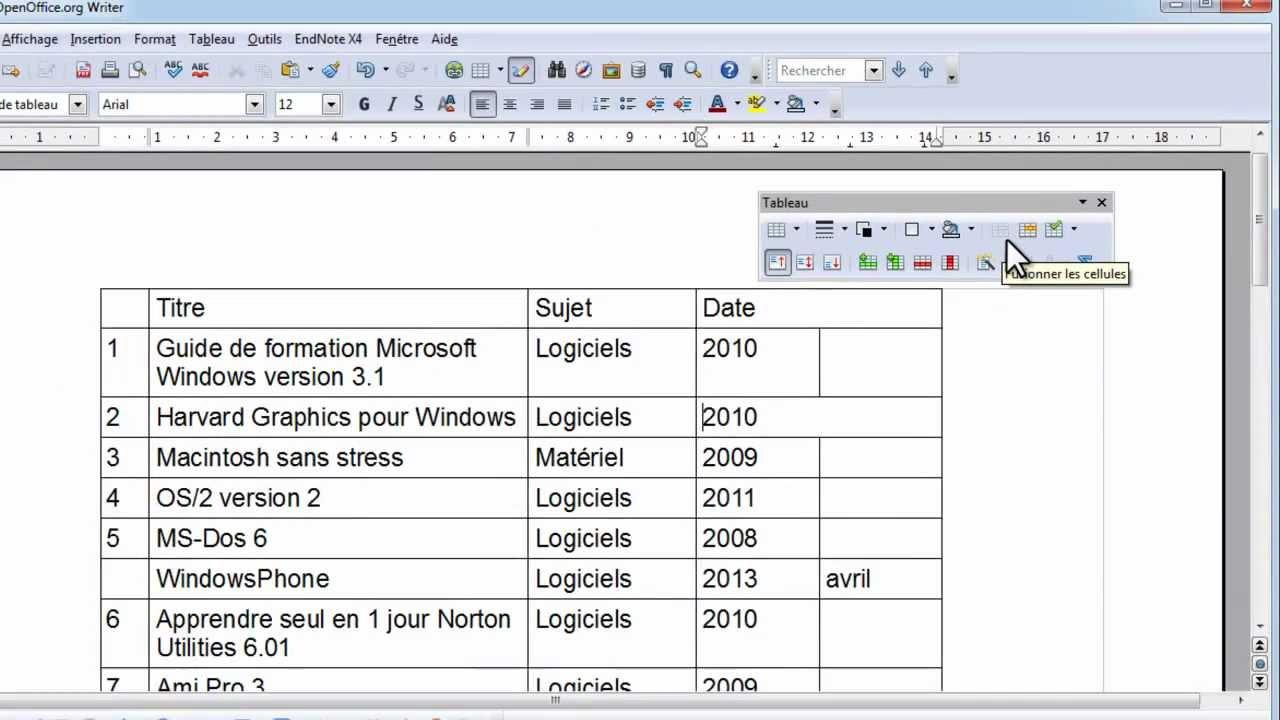 writer  ajouter  supprimer des lignes  colonnes et fusionner