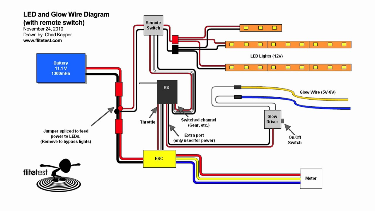 flite test led and glow wire diagram mov youtube rh youtube com led electrical schematic LED Schematic Diagram