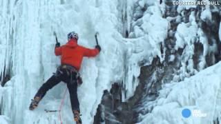 Ice climbing frozen Niagara Falls, Verbalists language travel