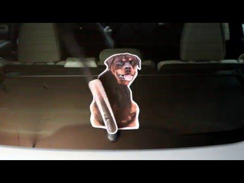 Rottweiler dog wagging wiper car decal sticker