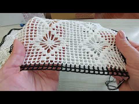 Комбинированная скатерть крючком на прямоугольный стол схемы