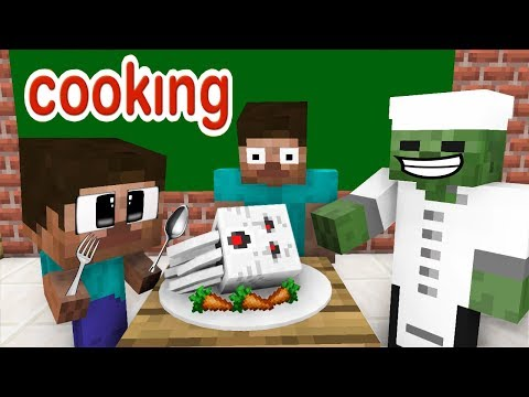 Monster School: Cooking Challenge - Minecraft Animation