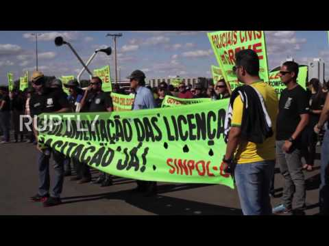 Brazil: Police protest against city governor outside Brasilia stadium