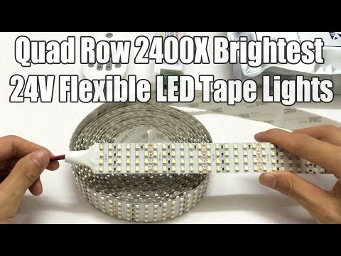 Quad Row 2400LEDs Per 16 4ft Cool White 9500k DC24V Brightest LED Tape Lights Warranty 3years