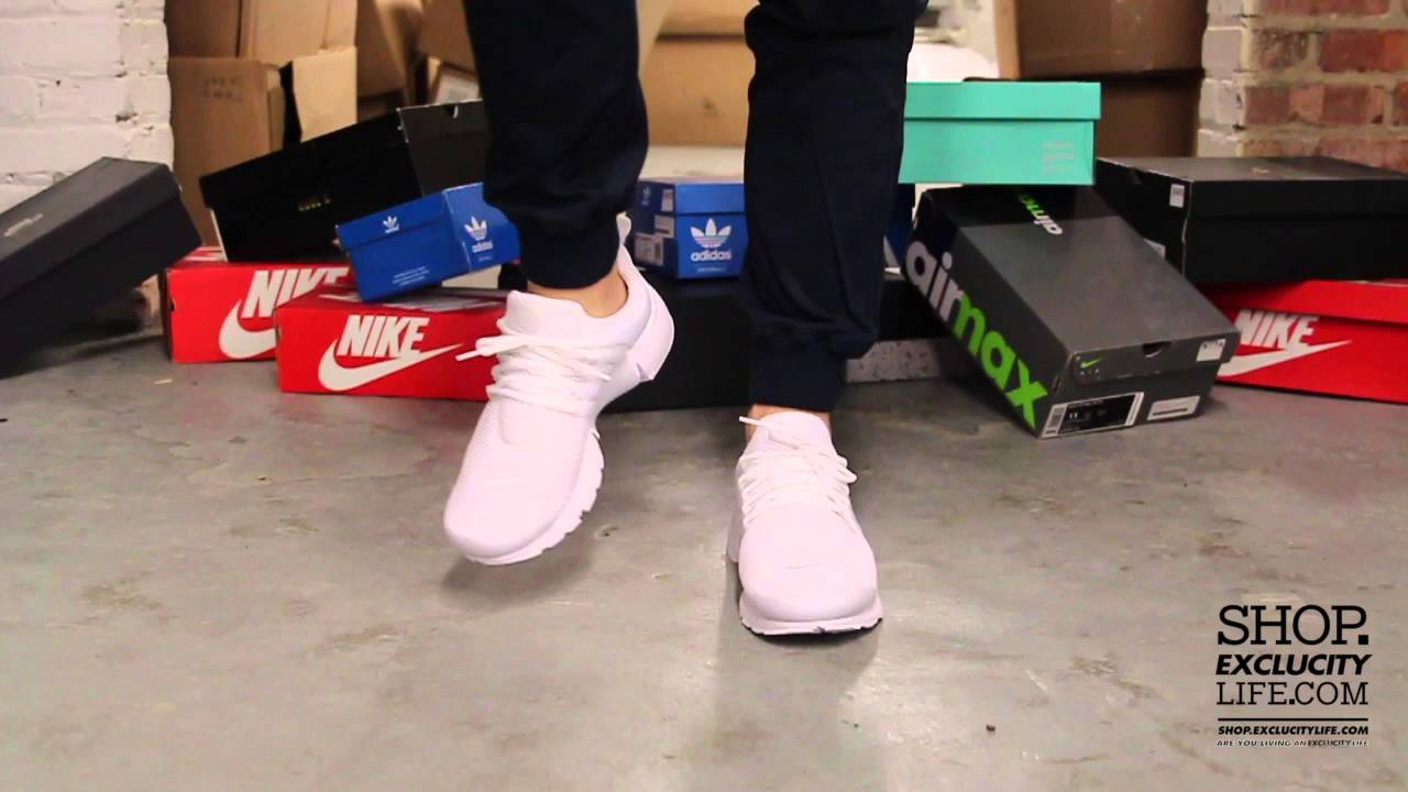 2aabb2b98508 Nike Air Presto White White On feet Video at Exclucity - YouTube
