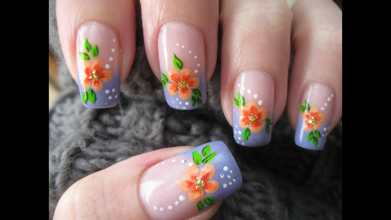 Nail art: French manicure with flower - YouTube