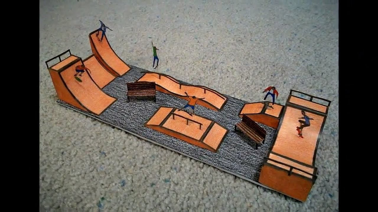 Papercraft Paper Model of a Skateboard Park