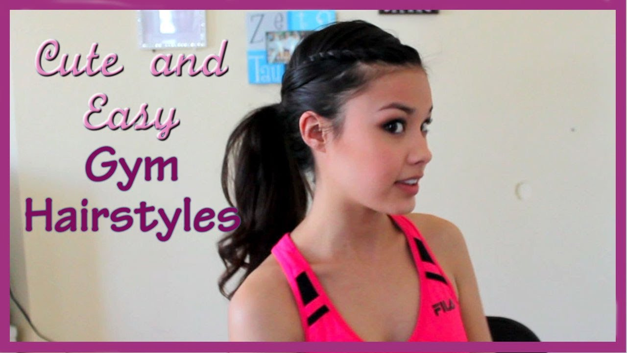 3 cute easy and fun gym hairstyles - youtube